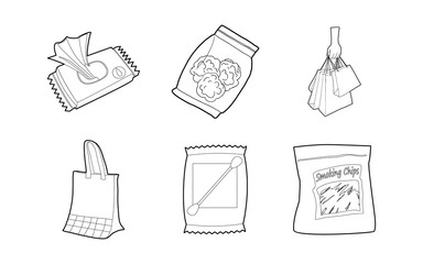 Packet icon set, outline style