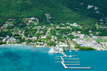 Fotobehang Eiland The Caribbean island Antigua, helicopter view
