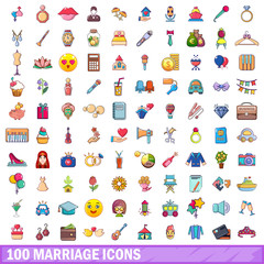 100 marriage icons set, cartoon style