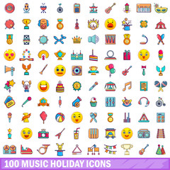 100 music holiday icons set, cartoon style