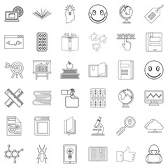 Seminar icons set, outline style