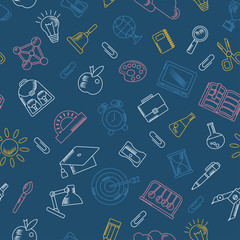 School seamless pattern with education supplies. Textures, backgrounds and templates for promotional materials and fabrics. Cartoon flat vector illustration. Objects isolated on a white background.