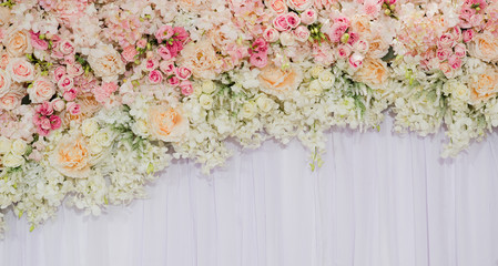 flower background. backdrop wedding decoration. Rose pattern. Wall flower