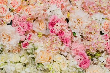 Wall Murals Floral flower background. backdrop wedding decoration. Rose pattern. Wall flower