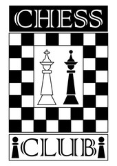 Chess club signboard in monochrome design, chess piece white king and black queen, chessboard designed frame