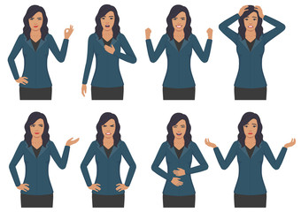 vector illustration of a woman character expressions with hands gesture, cartoon businesswoman wit different emotion
