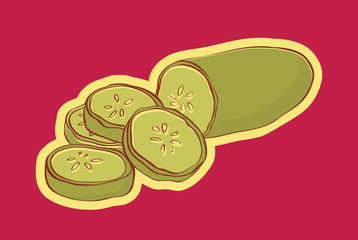 Illustration of sliced cucumber