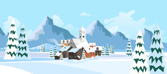 Flat Style Beautiful Landscape Illustration, with Little Town and Church..
