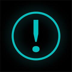 Neon Button rund - Ausrufezeichen