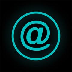 Neon Button rund - E-Mail-Symbol