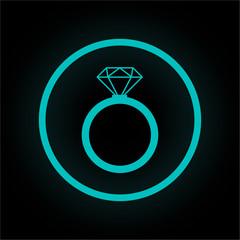 Neon Button rund - Diamantring