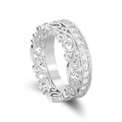 3D illustration isolated white gold or silver decorative crown diadem diamond ring with shadow