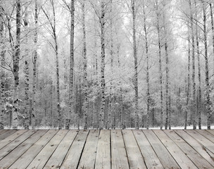 Empty wooden board table and birch trees