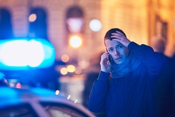 Young man calling after a crisis situation