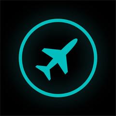 Neon Button rund - Flugzeug