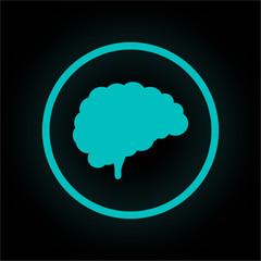 Neon Button rund - Gehirn