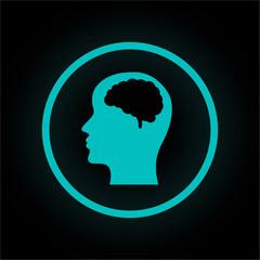 Neon Button rund - Gehirn im Kopf
