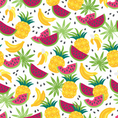 Seamless pattern with banana, palm leaves, watermelon and pineapple