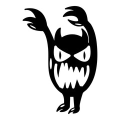 Monster icon, simple black style