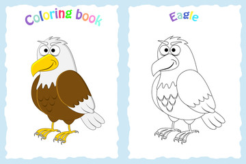 Coloring book page for preschool children with colorful  eagle  and sketch to color. American animal.