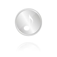 Musik - Silber Münze mit Reflektion