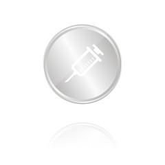 Spritze - Silber Münze mit Reflektion