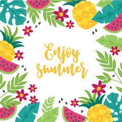 Summer greeting card with watermelon, tropical leaves, pineapple and flowers