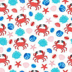 Seamless pattern with crab, shell and starfish