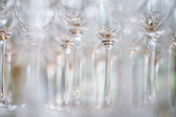 Concept picture - empty wine glasses ready for begining of party