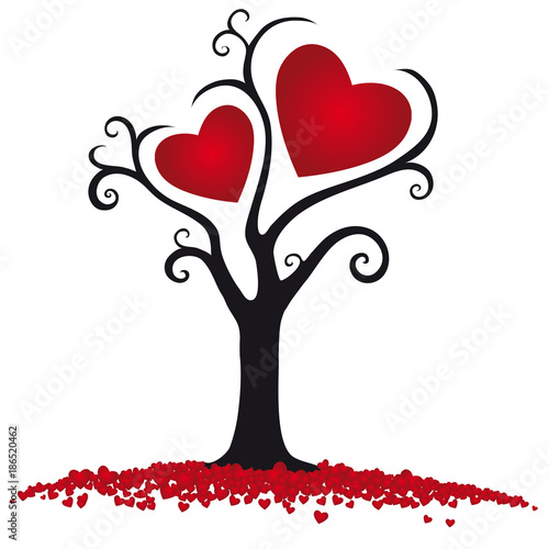 Happy Valentine S Day Tree With Two Hearts Stock Image And Royalty