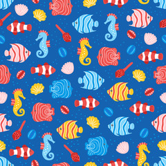 Seamless pattern with fish, shell and seahorse