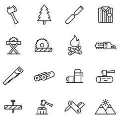 Lumberjack & woodcutter icon set. Logging line icons in squares, sawmill, logging truck, tree harvester, timber, lumberjack, etc.