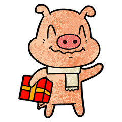 nervous cartoon pig with present
