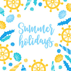 Summer greeting card shells, seaweed, boat steering wheel