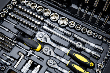 mechanics tool kit in black box