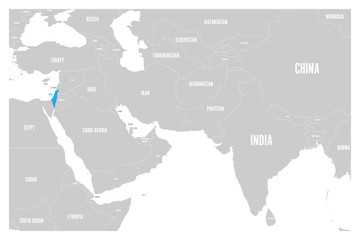 Israel blue marked in political map of South Asia and Middle East. Simple flat vector map..