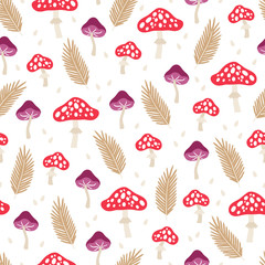 Seamless pattern with mushrooms, fir branches and drops