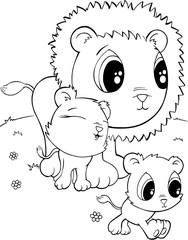 Cute Lions Vector Illustration Art