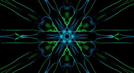 Green and blue fractal elements on black background