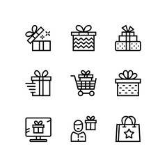 Gift, present, surprise vector simple outline icons for web and mobile design pack 2