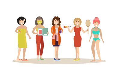 Spa people concept vector flat illustration