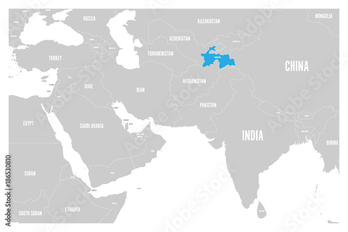 Tajikistan Blue Marked In Political Map Of South Asia And Middle - Middle east map dushanbe
