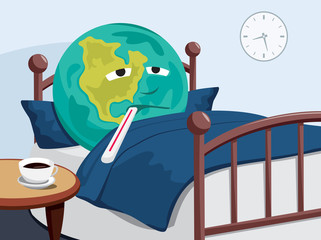 Planet Earth is sick. Caring for the planet. Simple cartoon vector illustration.