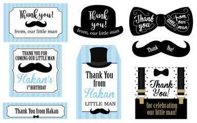 Little man birthday party ( Baby shower party) tags. Thank you favor card. Vector bow tie and suspenders. Black, blue, white - classic pattern. Set of design label (badge, sticker, frame) templates