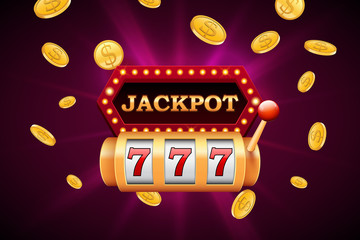 Slot machine and jackpot banner with falling golden coins, vector design