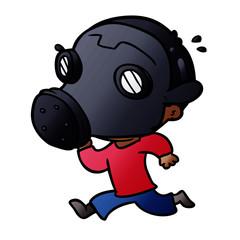 cartoon man wearing gas mask