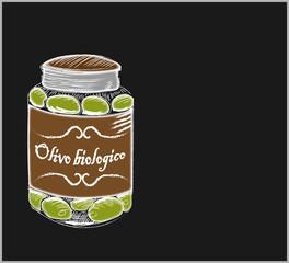 Jar of olives in color chalk on a blackboard.