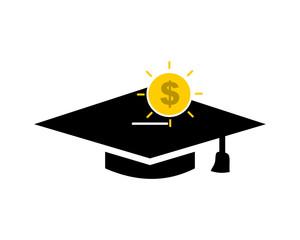 savings graduate cap square academic cap image icon logo vector