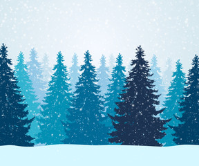 Vector illustration of winter forest with falling snowflakes