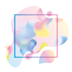 Plastic or liquid colorful shapes. Modern 3d abstract background for template